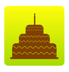 cake with candle sign brown icon at green vector image