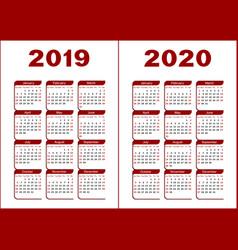Calendar 2019 2020 vector