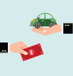 car and dollar notes sitting on his hand vector image