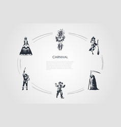 carnival - people in different traditional vector image