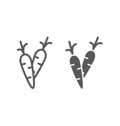 carrot line and glyph icon food and vegetable vector image