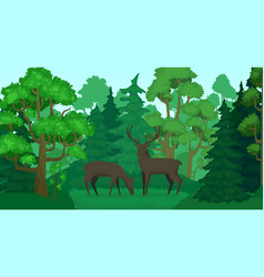 cartoon deer in forest landscape deers in woods vector image