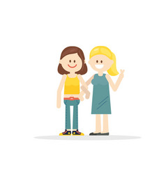 cartoon girlfriends holding hands vector image