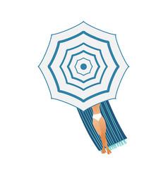 Cartoon man sunbathing mattress umbrella vector