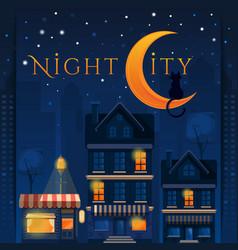 Cat on moon night city card vector