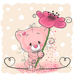 cat with flower vector image