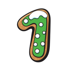 Christmas gingerbread cookie - one 1 number vector