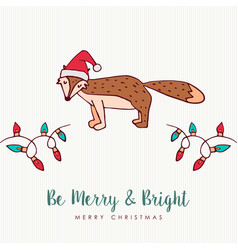 Christmas santa hat fox cartoon greeting card vector