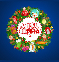 christmas wreath xmas tree decorations and gifts vector image