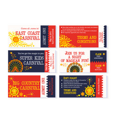 Circus ticket carnival birthday invitation vector