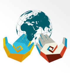Concept of hands in colors of countries with globe vector image