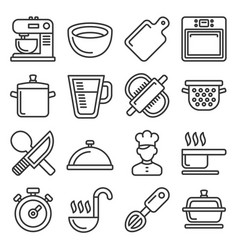 cooking icons set on white background line style vector image