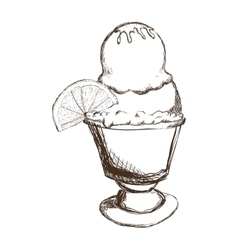 Cup of ice cream sketch icon Dessert and sweet vector image