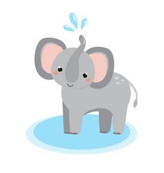 cute elephant cartoon african animal kawaii vector image