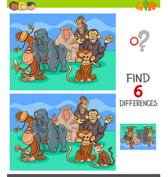 Differences game with monkeys animal characters vector