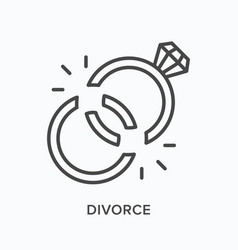 divorce flat line icon outline vector image