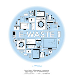 E-waste recycling icons set with electronics trash vector