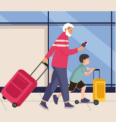 family in airport man and boy walks with baggage vector image