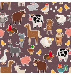 Farm animal and pets stickers pattern vector image
