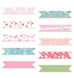 festive textile ribbons set isolated on white vector image
