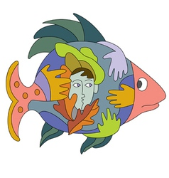 Fish and hands vector