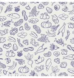 Fruits and vegetables sketch seamless pattern vector image