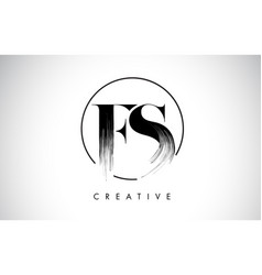 fs brush stroke letter logo design black paint vector image