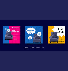 Furniture social media feed post promotion design vector
