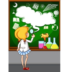 Girl looking at the board vector image