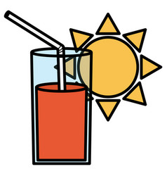 Glass of juice fruit and straw with sun vector