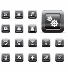 glossy buttons black chrome vector image