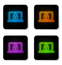 glowing neon laptop and lock icon isolated on vector image