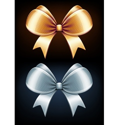 golden and silver bows vector image