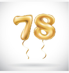 golden number 78 seventy eight metallic balloon vector image