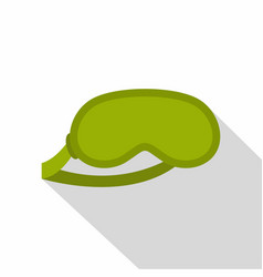green sleeping mask icon flat style vector image