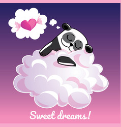 Greeting card with a cartoon panda on the cloud vector