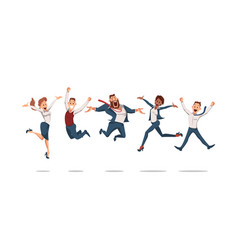 happy office workers jumping vector image