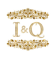 I and q vintage initials logo symbol the letters vector