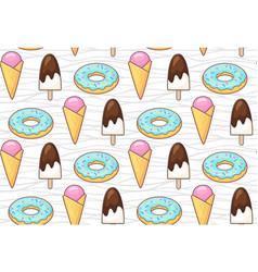 ice cream and donut vector image