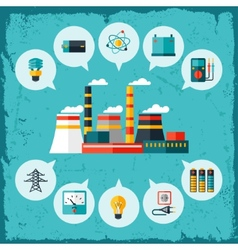 Industrial power plant in flat style vector