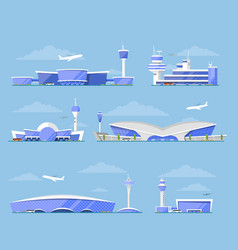 International airport terminal architecture set vector