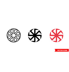 Kolovrat slavic symbols icon 3 types color vector