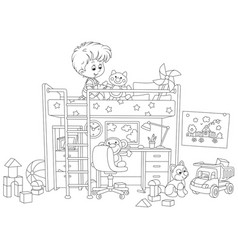 Little boy playing in his playroom vector
