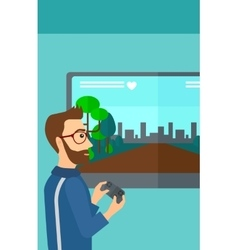 Man playing video game vector