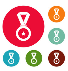 medal icons circle set vector image