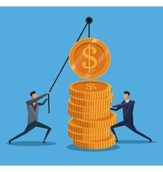 Men collaboration finance coin lifting vector