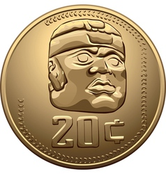 Mexican money Gold Coin vector image vector image