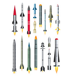 military missile rocket isolated on white vector image