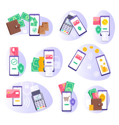 Mobile payment financial transaction isolated set vector