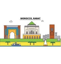 Morocco rabat outline city skyline linear vector